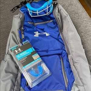 Girls lacrosse lax bag, eye protection,mouth guard